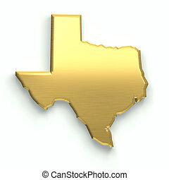 dourado, desenho, map., texas, 3d
