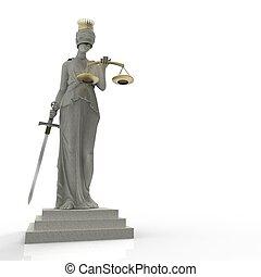 dourado, deusa, themis, justiça, coroa, fazendo, 3d