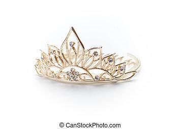 dourado, diadema, tiara, coroa, isolado, branca, ou
