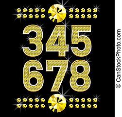 dourado, diamante, letras, grande, metall, números, pequeno