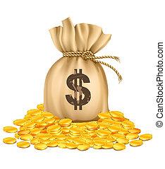 dourado, dinheiro, dólares, moedas, saco, pilha