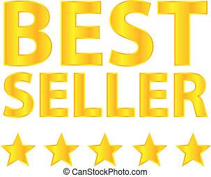 dourado, distinção, vendedor, cinco, estrelas, melhor