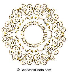 dourado, doodle, ornamento
