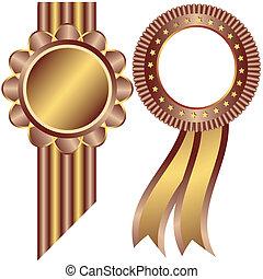dourado, e, café, decorativo, bordas, (vector)