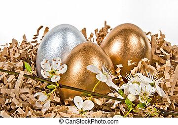 dourado, e, prata, eggs.
