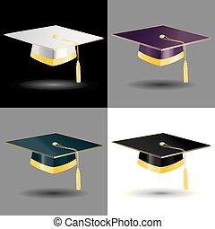 dourado, elementos, estudante, formatura tapa
