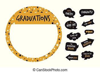 dourado, elementos, foto, -vector, graduação, barraca, partido
