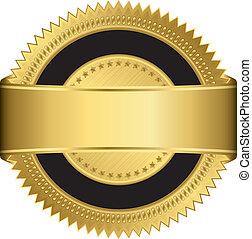 dourado, em branco, etiqueta, com, dourado, ribb