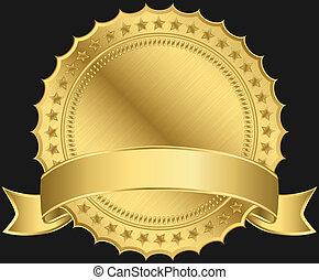 dourado, em branco, etiqueta
