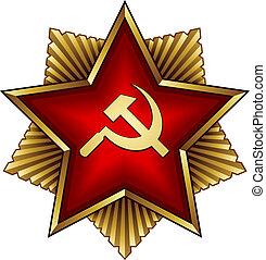 dourado, emblema, estrela, soviético, -, foice, vetorial,...