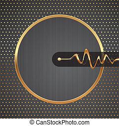 dourado, equalizador, olá-tecnologia, pontilhado, quadro, padrão, abstratos, &, metal, ilustração, vetorial, textura, fundo, ondas, redondo