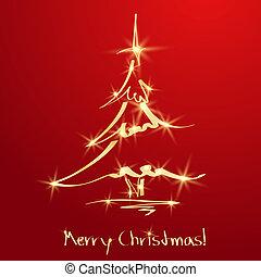 dourado, esboço, árvore, experiência., natal, vermelho