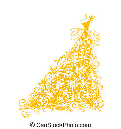 dourado, esboço, ornamento, desenho, vestido floral, seu