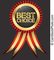 dourado, escolha, r, melhor, etiqueta, vermelho