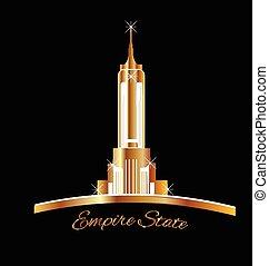 dourado, estado, york, novo, logotipo, império