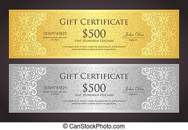 dourado, estilo, certificado presente, vindima, luxo, prata