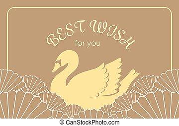 dourado, estilo, chinês, vindima, cisne, japoneses, elegante, charme, modelo, convite, cartão