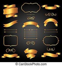 dourado, estilo, jogo, etiquetas, setas, fitas, retro