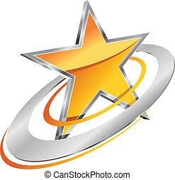 dourado, estrela, com, circular, órbitas