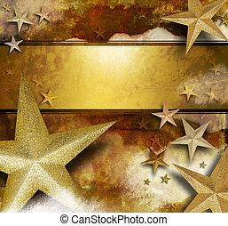 dourado, estrela, fundo, brilho