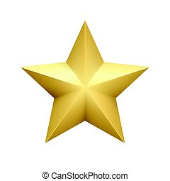 dourado, estrela, fundo, isolado, Ilustração, metálico, realístico, vetorial, branca