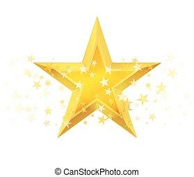 dourado, estrela, Ilustração, metálico, vetorial, branca