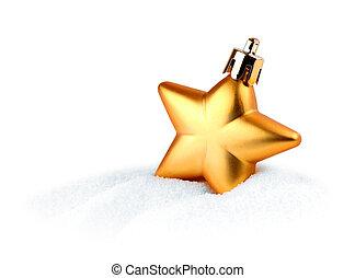 dourado, estrela, Natal, neve