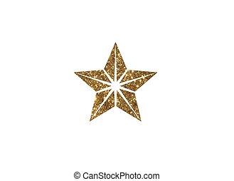 dourado, estrela, revisão, vetorial, fundo, branca, brilhar, ícone