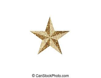 dourado, estrela, revisão, vetorial, fundo, branca,  3D, brilhar, ícone