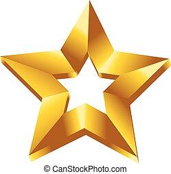 dourado, estrela, símbolo, ilustração, vetorial, 3d