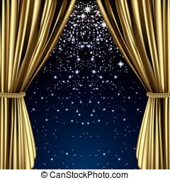 dourado, estrelado, cortina