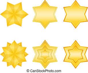 dourado, estrelas, ícone