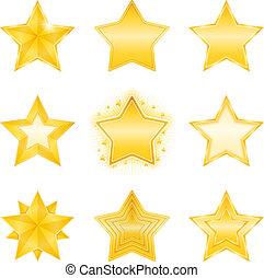 dourado, estrelas, ícones
