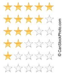 dourado, estrelas, avaliação