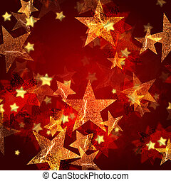 dourado, estrelas, em, vermelho