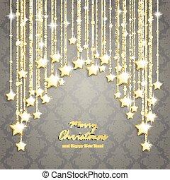 dourado, estrelas, experiência cinza, cortina, natal