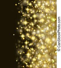 dourado, estrelas, fundo, luzes