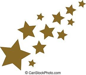 dourado, estrelas, fundo