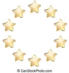 dourado, estrelas, um círculo