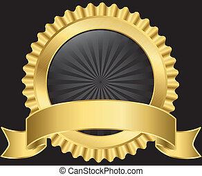 dourado, etiqueta, com, fita, vetorial