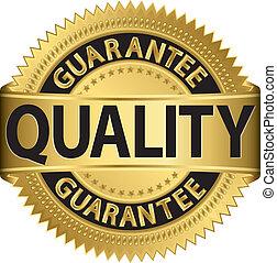 dourado, etiqueta, vec, qualidade, garantia