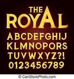 dourado, exclusivo, luxo, alfabeto