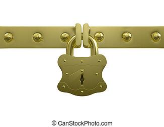 dourado, fechadura, e, parafusos