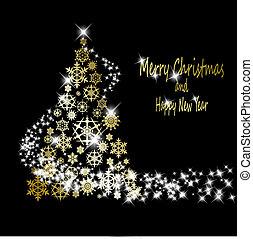 dourado, feito, eps10, snowflakes, ouro, árvore, ilustração, experiência., vetorial, pretas, estrelas, natal