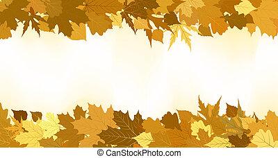 dourado, feito, leaves., eps, outono, 8, borda