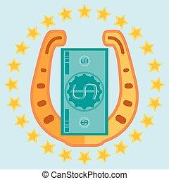 dourado, ferradura, e, um dólar, conta, um círculo, de, estrelas, talisman, para, sorte