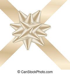 dourado, fita, ligado, presente, caixa, -, ilustração