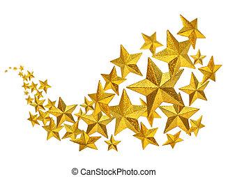 dourado, fluxo, estrelas
