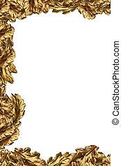 dourado, folha carvalho, quadro