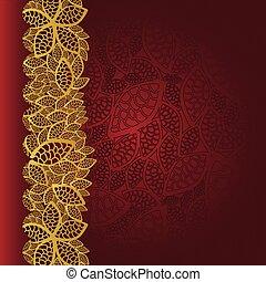 dourado, folhas, borda, cartão, vermelho